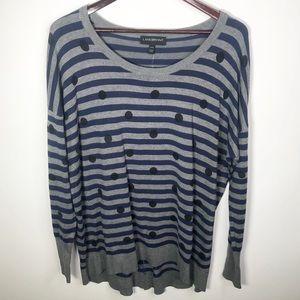 ⚡️Lane Bryant Gray Striped Polka Dot Sweater 14/16